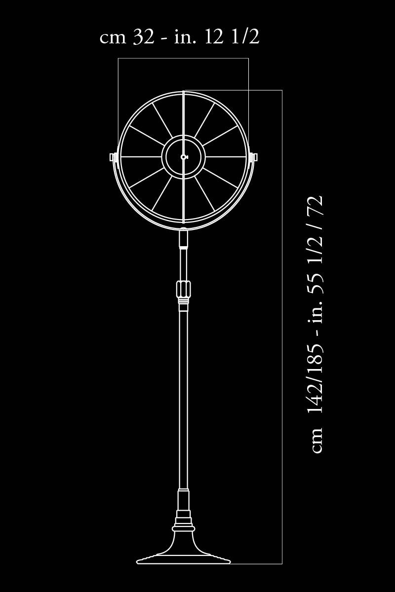 Lámpara de pie Fortuny Atelier 32 negra dimensiones