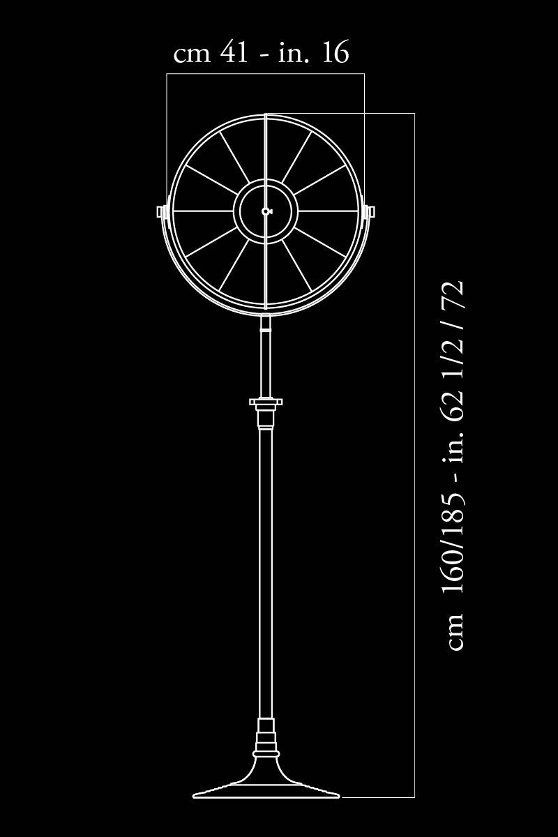 Lámpara de pie Fortuny Atelier 41 negra dimensiones