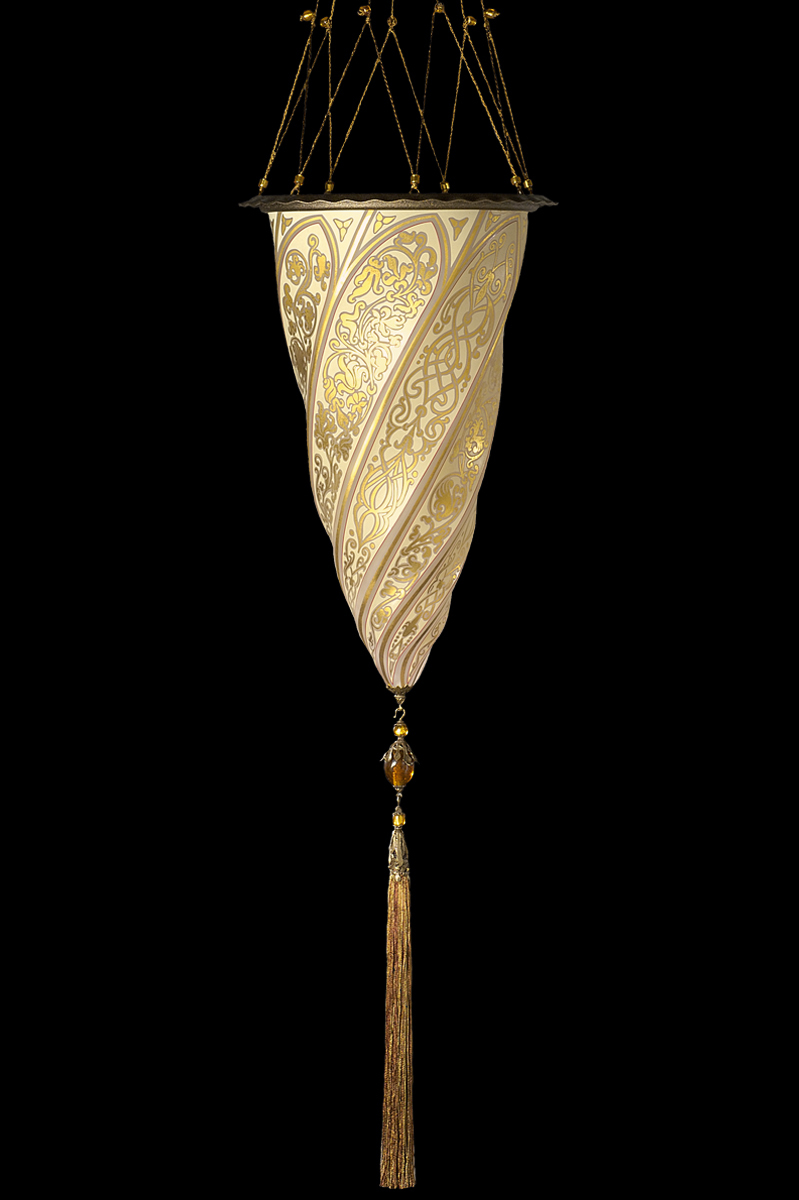 Lámpara suspendida Fortuny Cesendello de cristal dorado