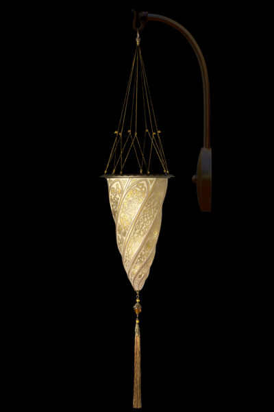 Lámpara Fortuny Cesendello de cristal de pared de arco dorada