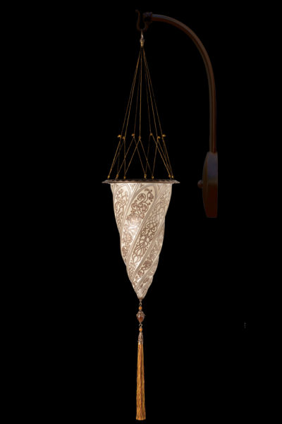 Lámpara Fortuny Cesendello de cristal de pared de arco plateada
