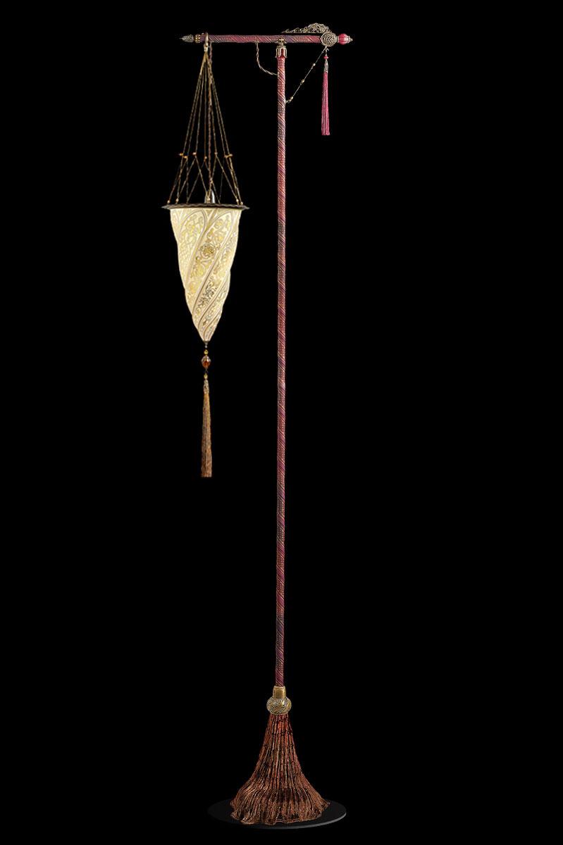 Lámpara de pie Fortuny Cesendello de cristal dorado con soporte rojo