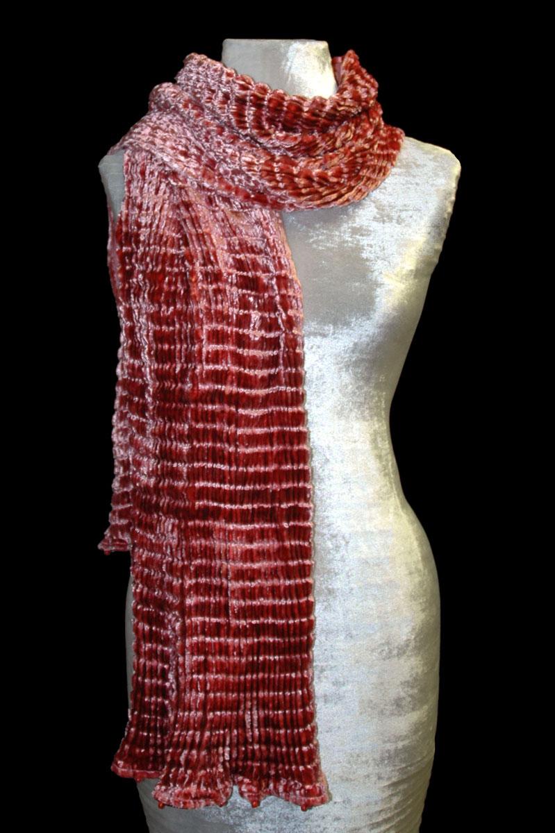Pañuelo Fortuny de terciopelo plisado color canela