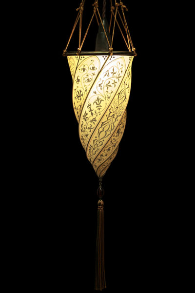 Lámpara de seda Fortuny Cesendello amarillo ocre