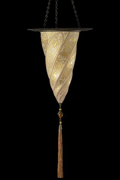Lámpara Cesendello de cristal dorado con anillo metálico