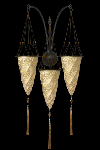 Lámpara Fortuny Cesendello de cristal dorado de triple arco