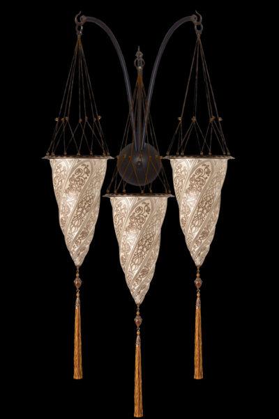 Lámpara Fortuny Cesendello de cristal plateado de triple arco