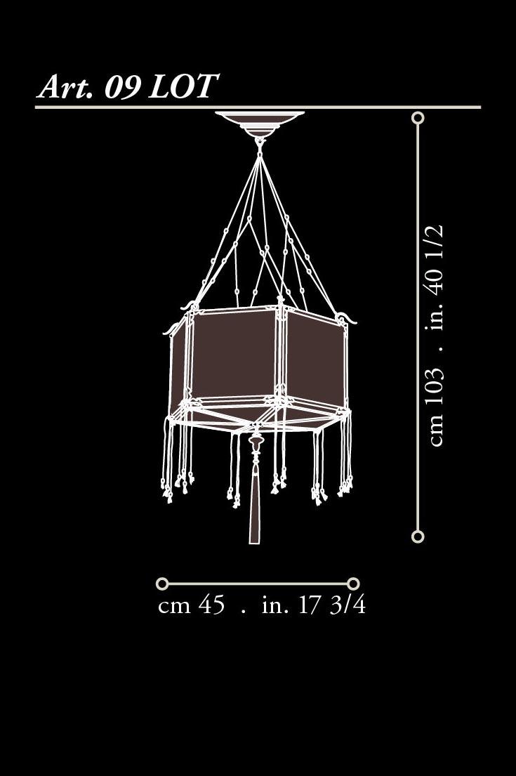 Lámpara de seda Fortuny Concubine Loto dimensiones