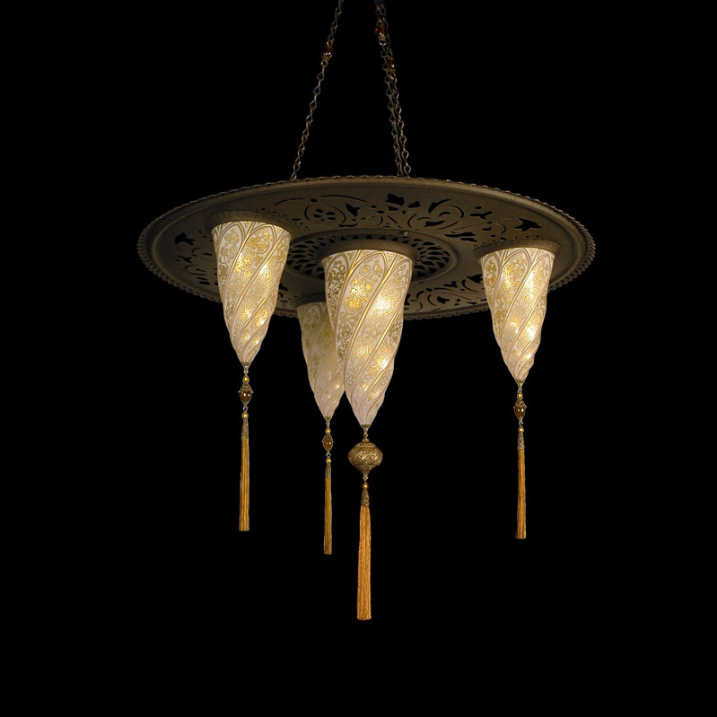 Fortuny Sultan Cesendello glass gold lamp with 3 shades