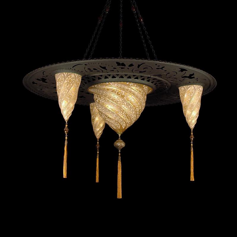 Fortuny Sultan Samarkanda glass gold lamp with 3 shades