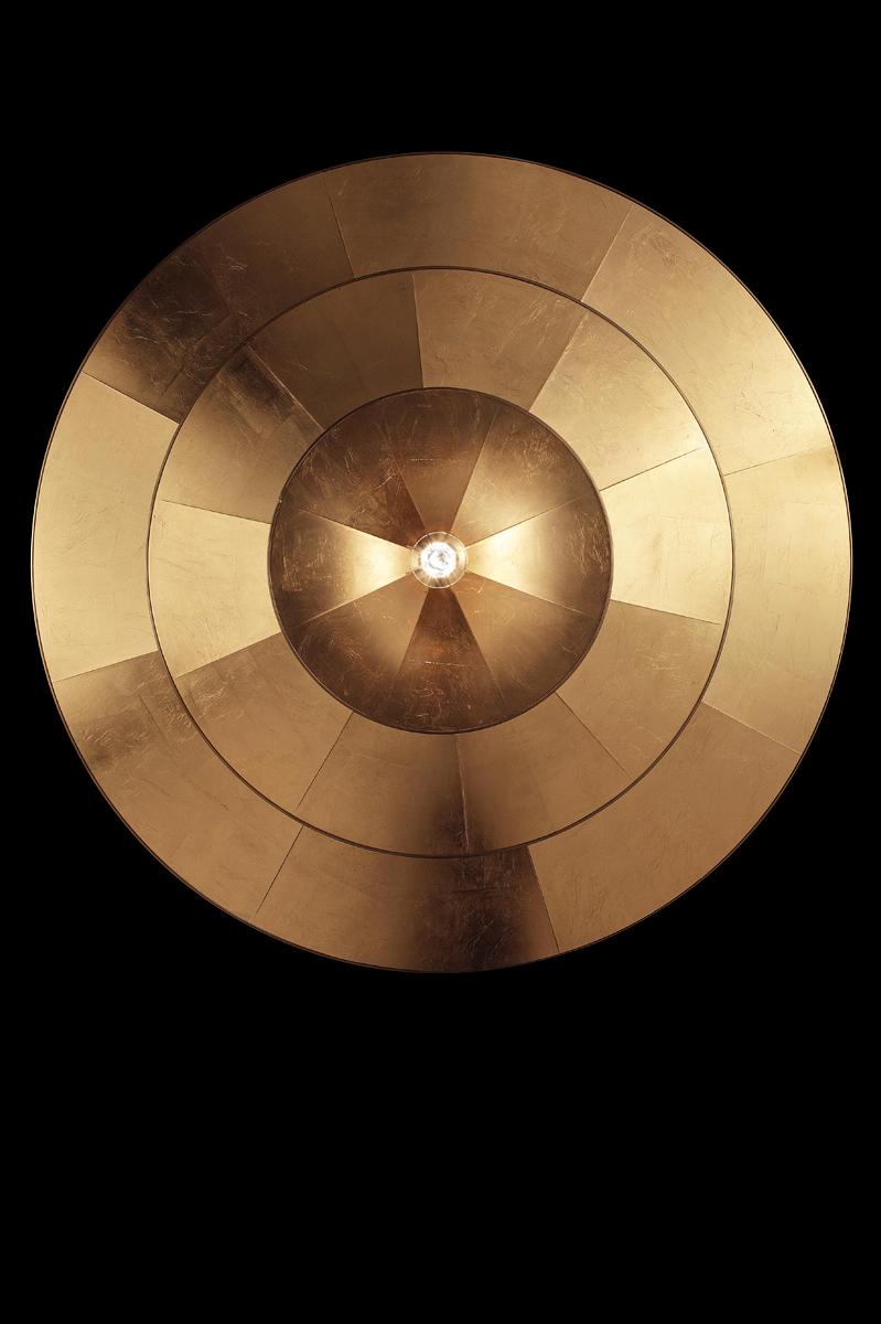 Fortuny Icaro lampara de fibra de vidrio y pan de oro de 3 niveles - vista inferior