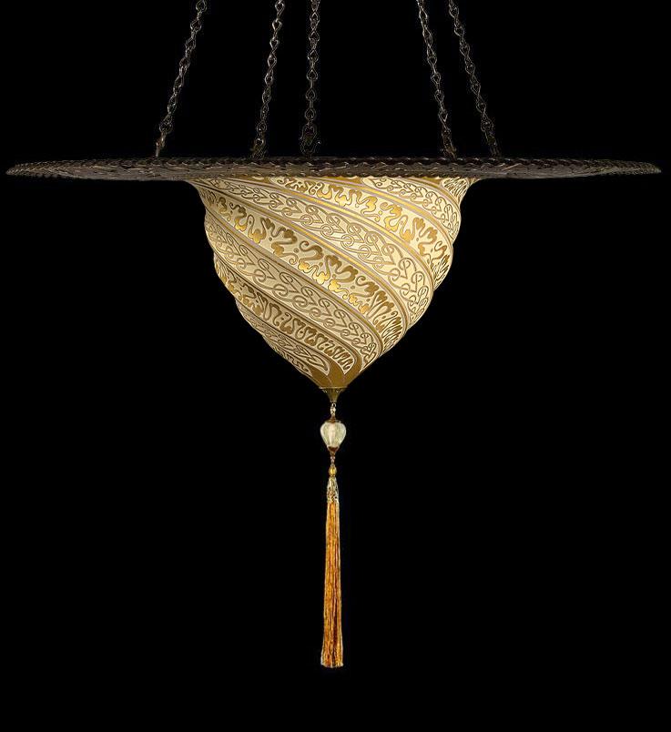 Lámpara Fortuny Samarkanda de cristal dorado con anillo metálico