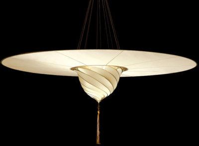 Lámpara Fortuny de seda lisa Samarkanda Plain con disco