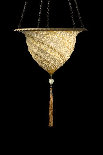 Lámpara Fortuny Samarkanda de cristal dorado