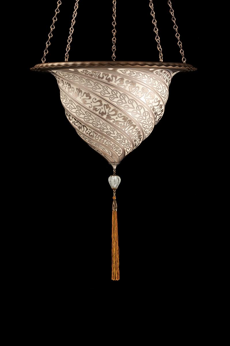 Lámpara Fortuny Samarkanda de cristal plateado