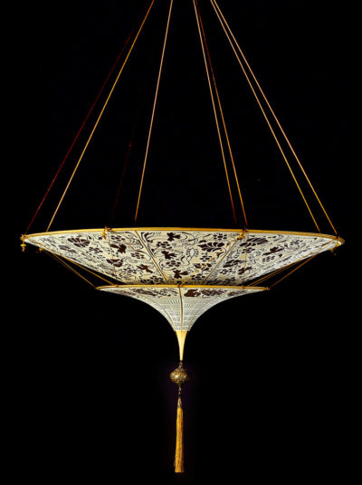 Scheherazade Fortuny 2 niveles Lámpara de seda con diseño marrón Floral - vista frontal