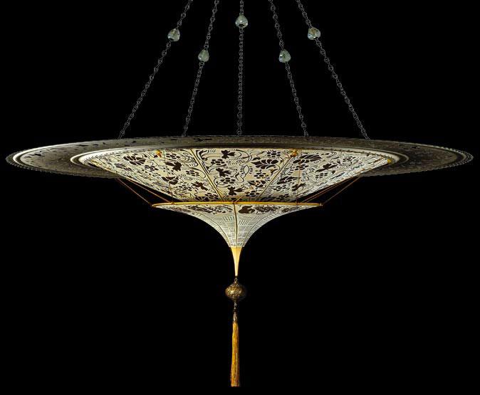 Scheherazade 2 niveles Lámpara Fortuny de seda con diseño Floral y anillo metálico