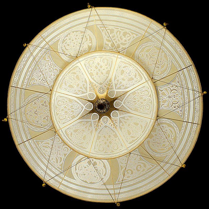 Scheherazade Fortuny 2 niveles Lámpara de seda con diseño Geométrico - vista inferior