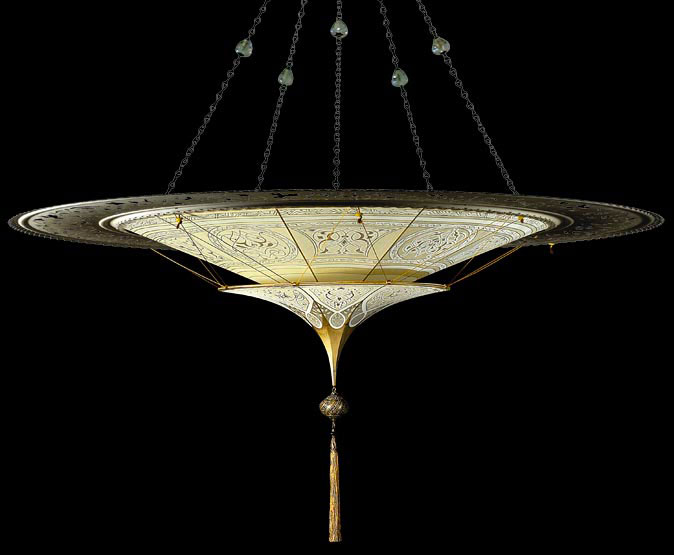Scheherazade 2 niveles Lámpara Fortuny de seda con diseño Geométrico y anillo metálico