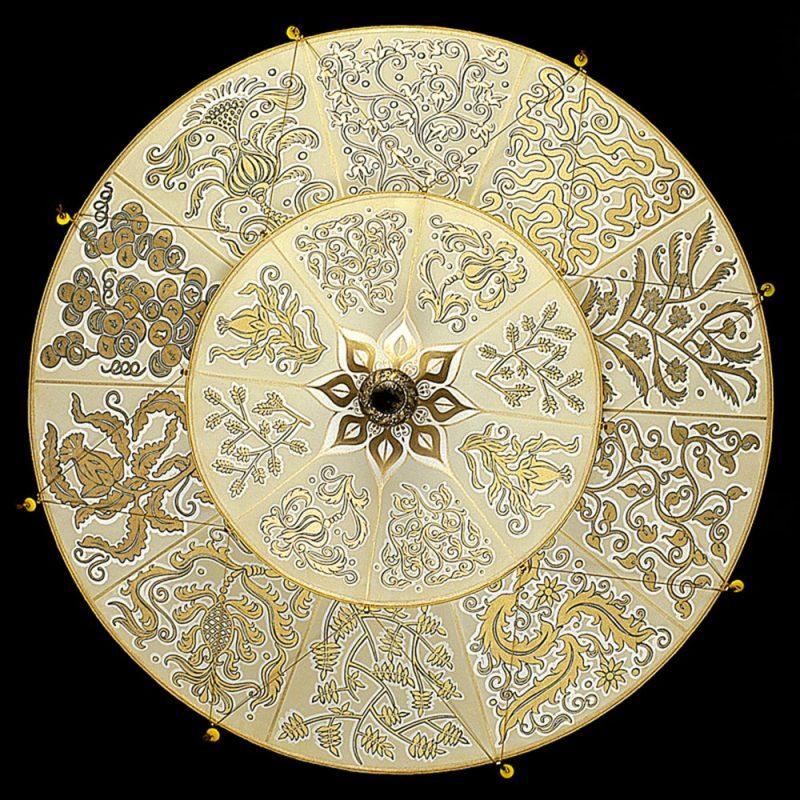 Scheherazade Fortuny 2 niveles Lámpara de seda con diseño Herbario - vista inferior