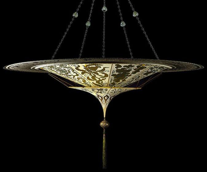 Scheherazade 2 niveles Lámpara Fortuny de seda con diseño Herbario y anillo metálico