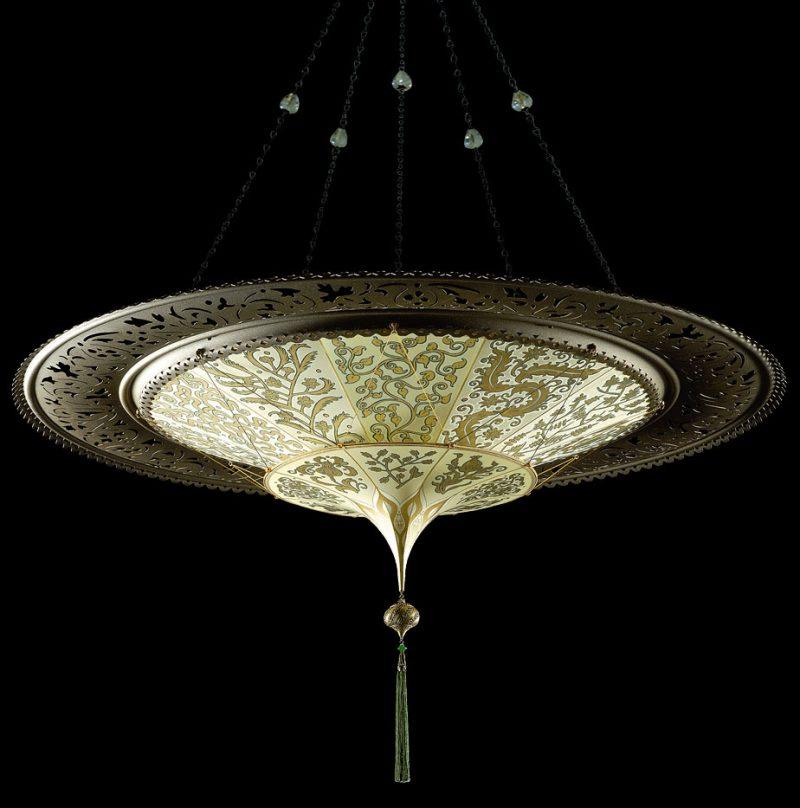 Scheherazade 2 niveles Lámpara Fortuny de seda con diseño Herbario y anillo metálico- vista inferior