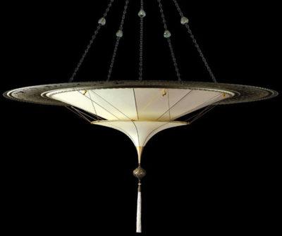 Scheherazade 2 niveles Lámpara de seda de color liso con diseño Plain y anillo metálico