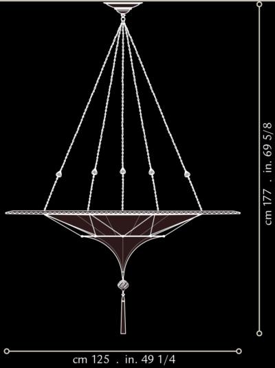 Scheherazade Fortuny 2 niveles con anillo decorativo de metal - dimensiones