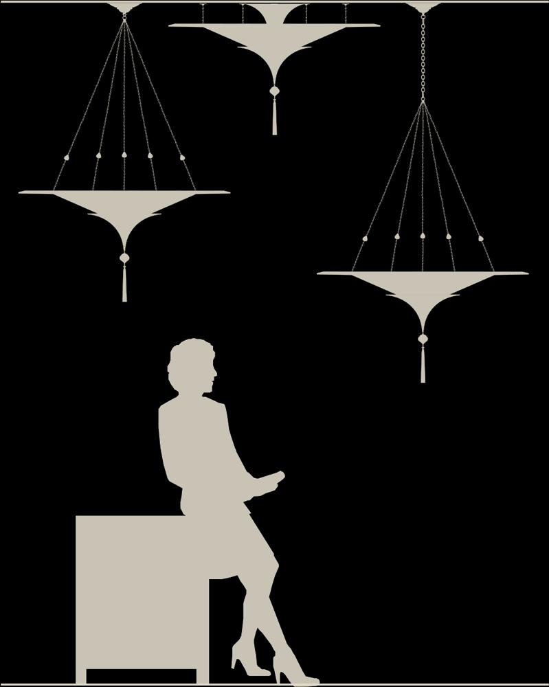 Scheherazade 2 niveles Lámpara Fortuny con anillo decorativo de metal - tamaño real