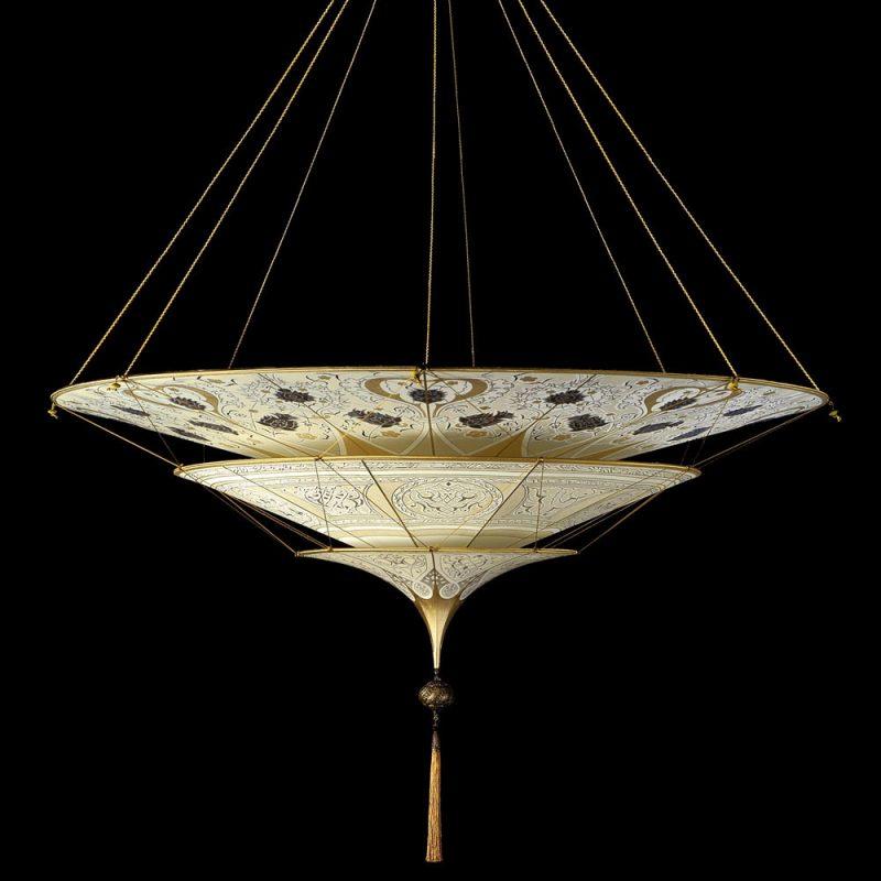 Scheherazade Fortuny 3 niveles Lámpara de seda con diseño Geométrico - vista frontal