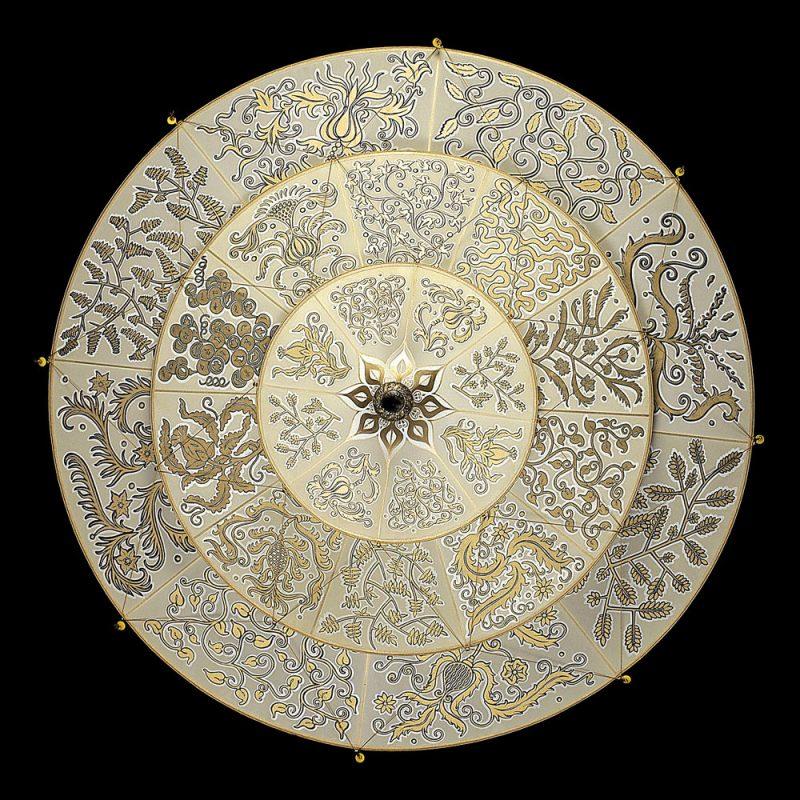 Scheherazade Fortuny 3 niveles Lámpara de seda con diseño Herbario - vista inferior
