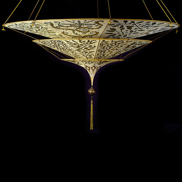 Scheherazade Fortuny 3 niveles Lámpara de seda con diseño Herbario