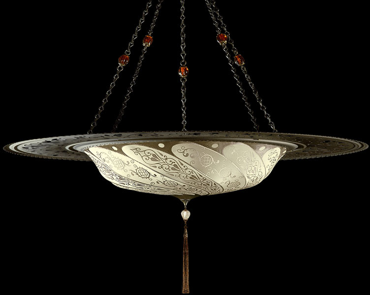 Fortuny Scudo Saraceno Classic ivory silk lamp with metal ring