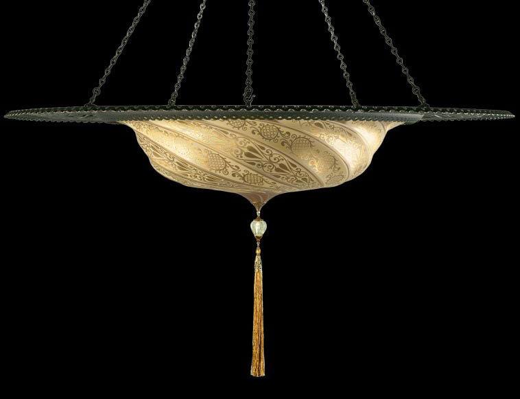 Lámpara Fortuny Scudo Saraceno clásica de cristal dorado con anillo metálico