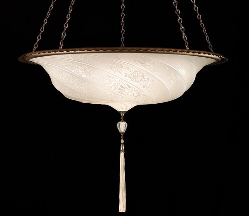 Lámpara Fortuny Scudo Saraceno de cristal blanco