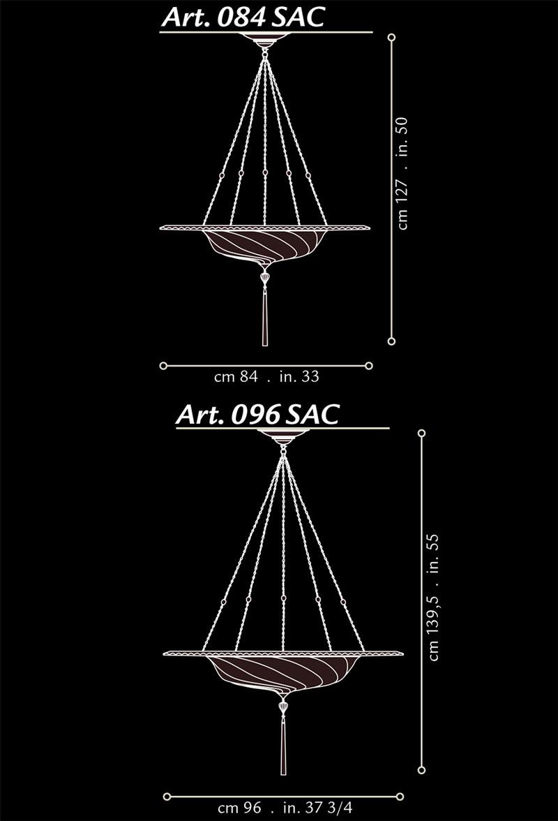 Lámpara de seda Fortuny Scudo Saraceno con anillo metálico dimensiones
