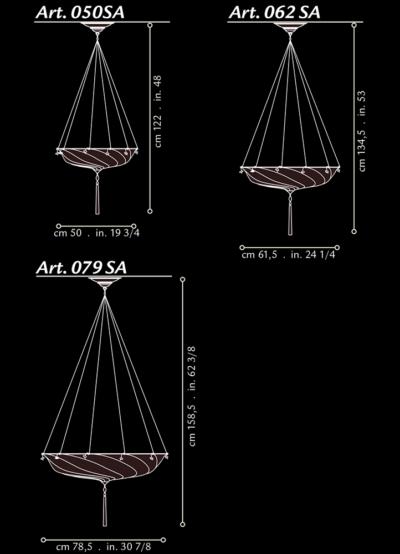 Lámpara Fortuny Scudo Saraceno de seda dimensiones