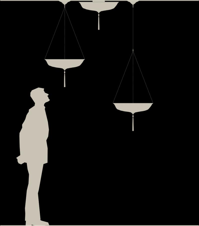 Lámpara Fortuny Scudo Saraceno de seda tamaño real