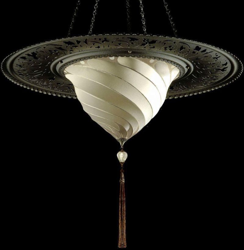 Lámpara de seda lisa Fortuny Samarkanda Plain con anillo metálico