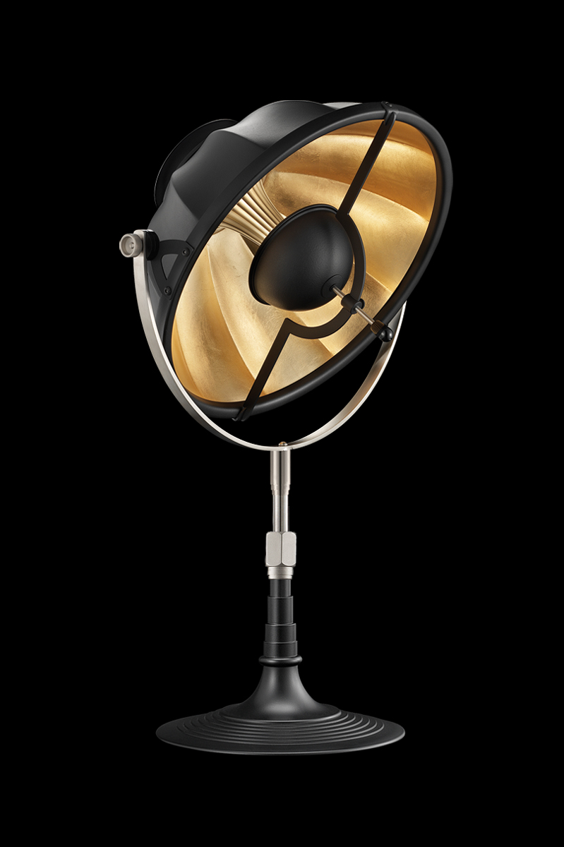 Lámpara de mesa Fortuny Armilla 32 negra y pan de oro
