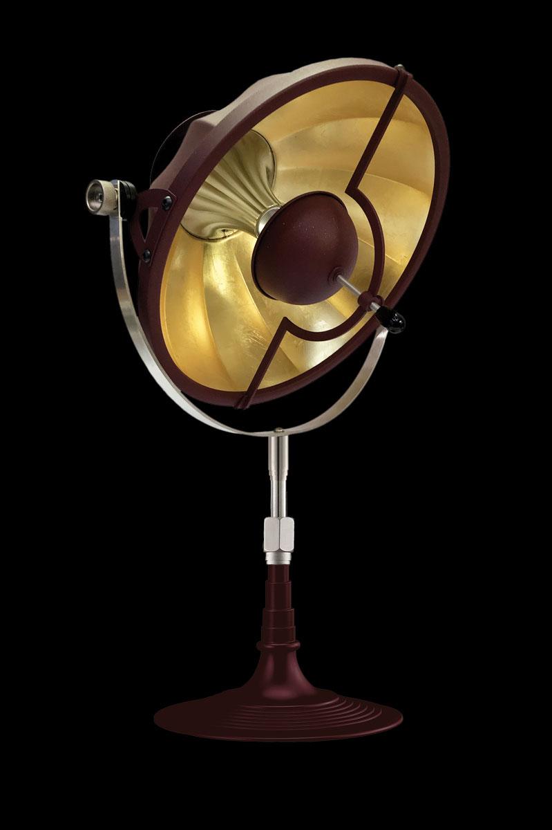 Lámpara de mesa Fortuny Armilla 32 rojo antiguo y pan de oro