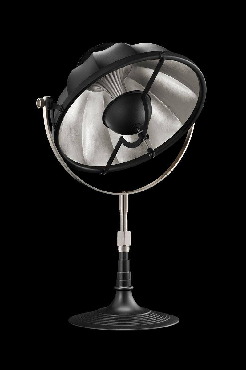 Lámpara de mesa Fortuny Armilla 32 negra y pan de plata