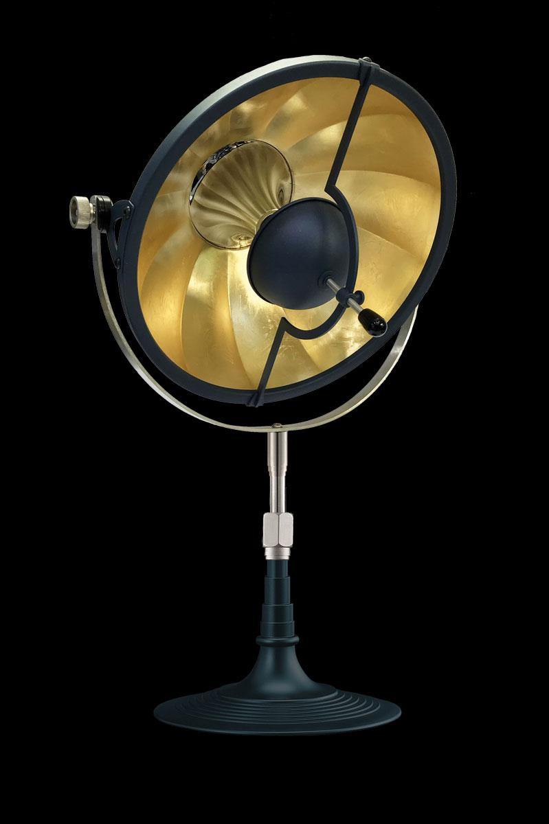 Lámpara de mesa Fortuny Armilla 32 azul y pan de oro