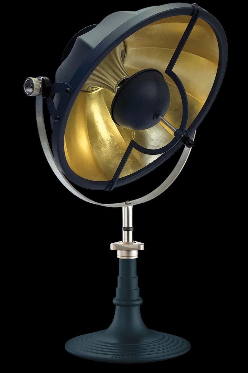 Lámpara de mesa Fortuny Armilla 41 azul y pan de oro