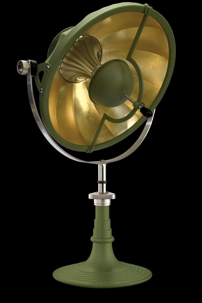 Lámpara de mesa Fortuny Armilla 41 verde pastel y pan de oro