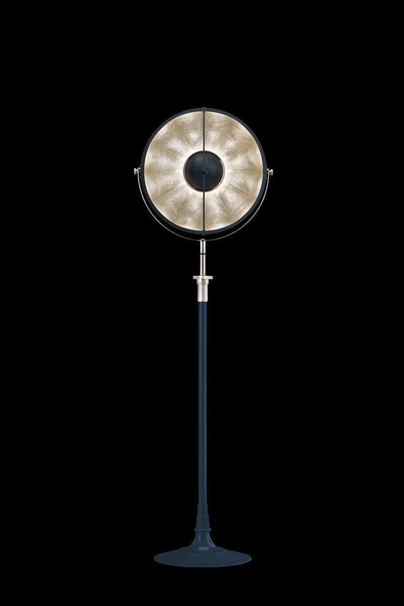 Lámpara de pie Fortuny Atelier 41 azul pastel y pan de plata