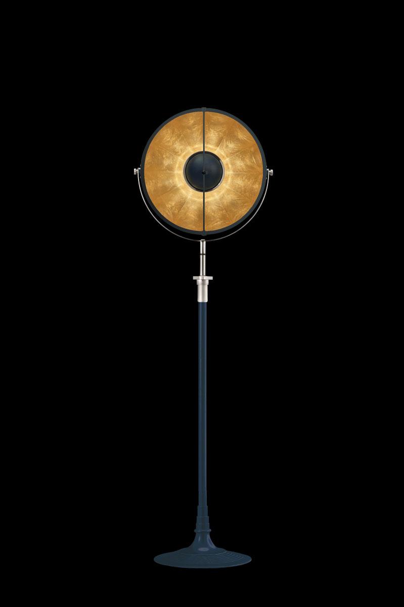 Lámpara de pie Fortuny Atelier 41 azul pastel y pan de oro