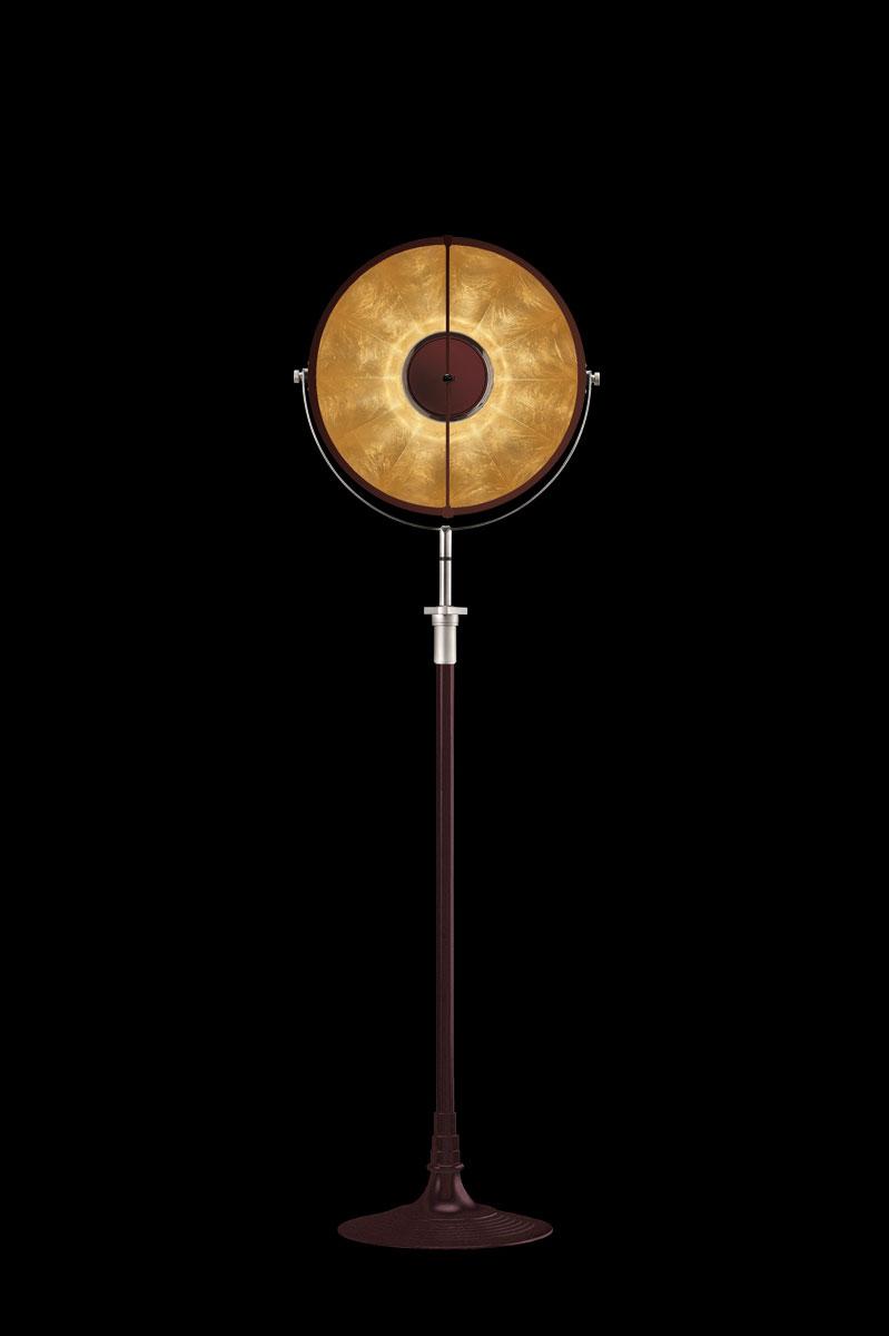 Lámpara de pie Fortuny Atelier 41 rojo antiguo y pan de oro