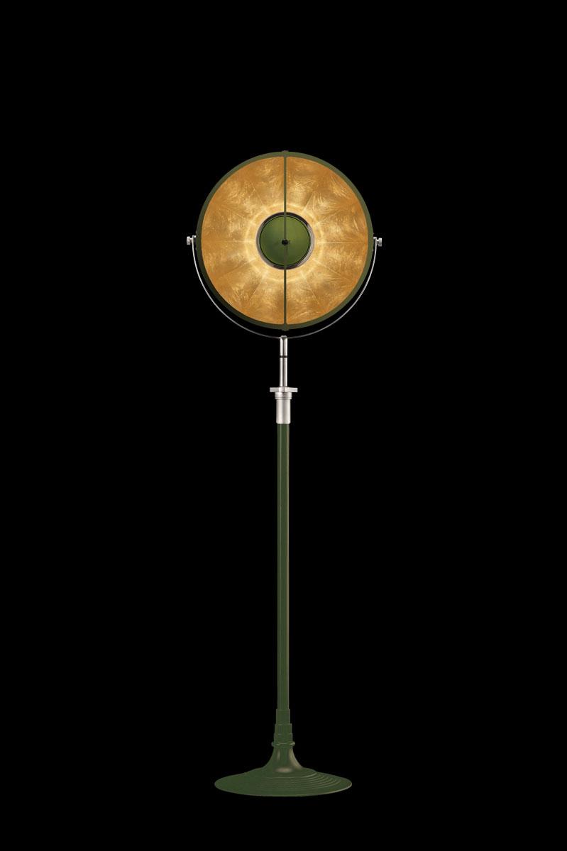 Lámpara de pie Fortuny Atelier 41 verde pastel y pan de oro