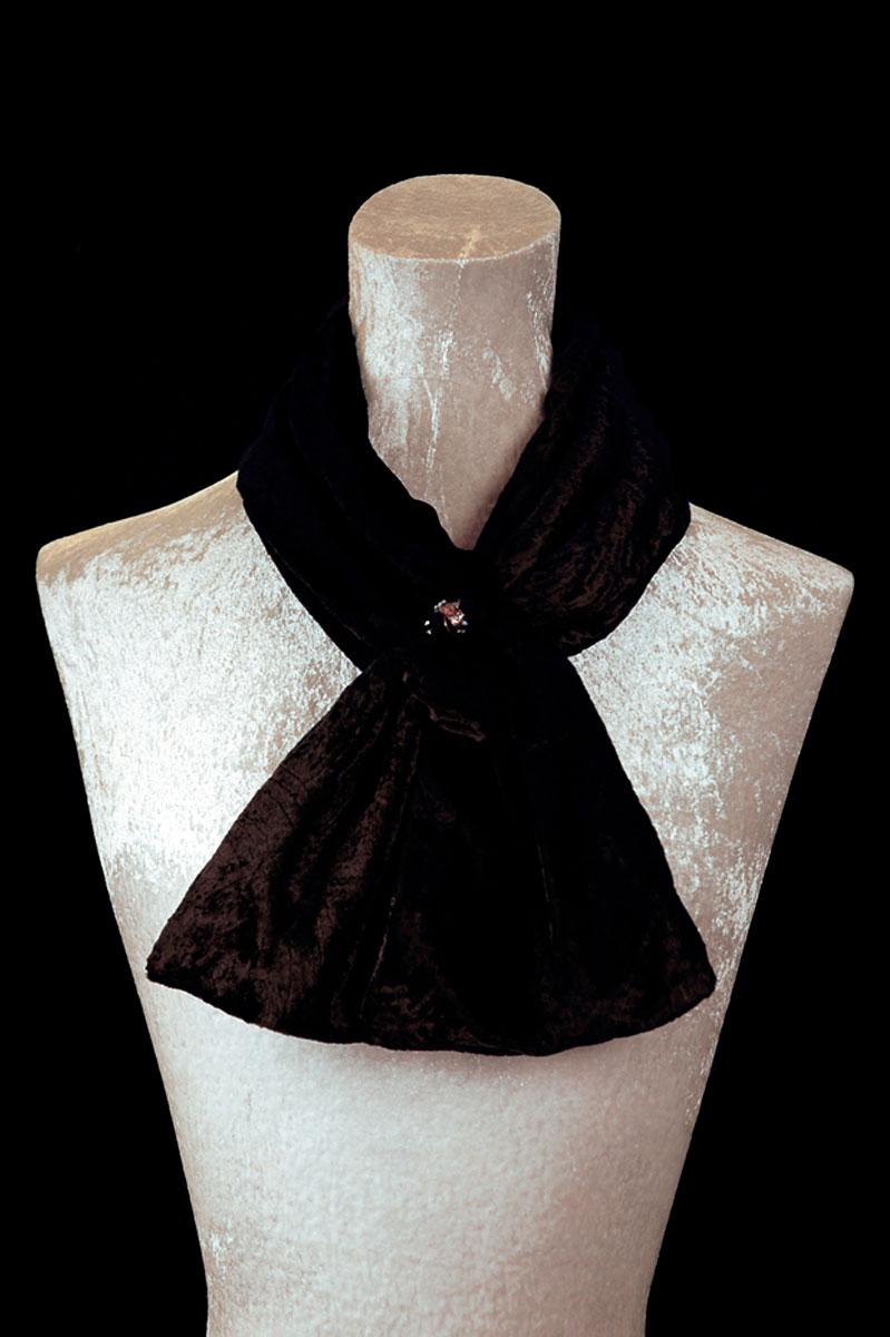Pañuelos Fortuny de terciopelo fruncido negro con cuentas de cristal de Murano